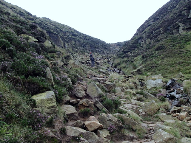 Climb at the head of Grindsbrook Clough