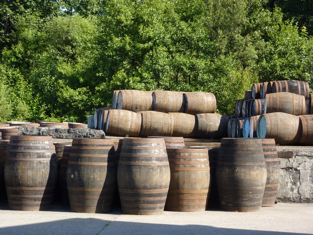Barrels at the Fort William distillery