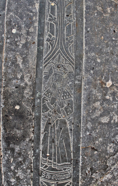 St Edmund detail, Brass of Joan, Lady Cromwell