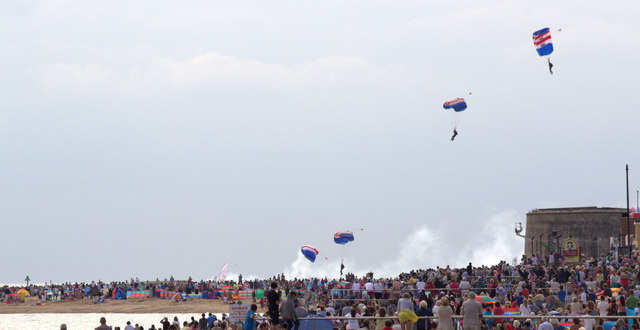 The RAF Falcons Parachute Display Team, Clacton, Essex