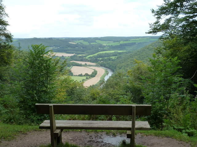 Seat overlooking the Wye in Bargain Wood