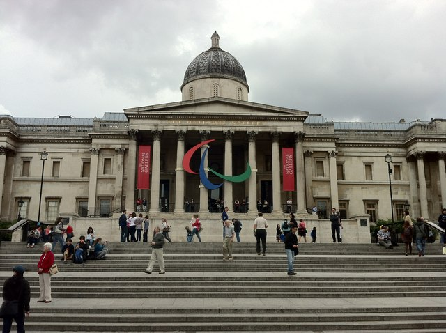 Paralympic logo on the front of the National Gallery