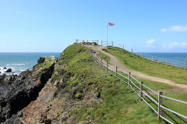 Flagpole and viewpoint, Hartland Quay