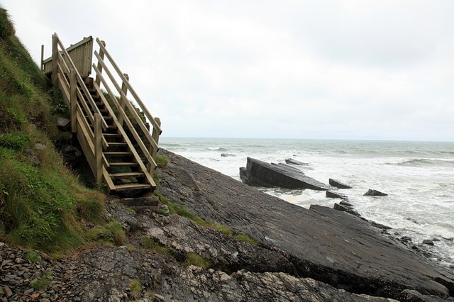 Steps to beach, Speke's Mill Beach