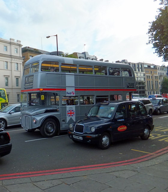 Silver Routemaster Bus in Knightsbridge