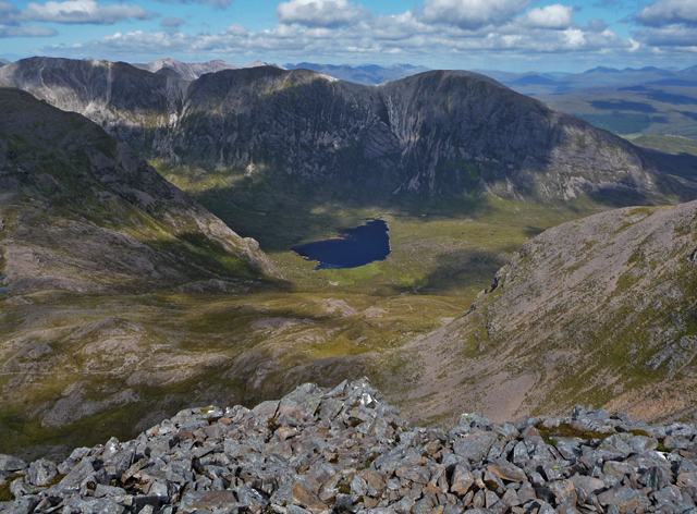 Coire L&agrave;ir from the top of the Mainreachan Buttress