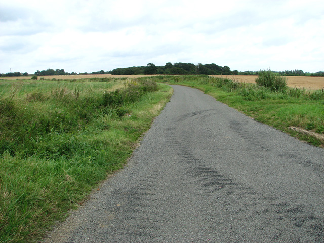Tractor tyre marks on minor road to North Runcton