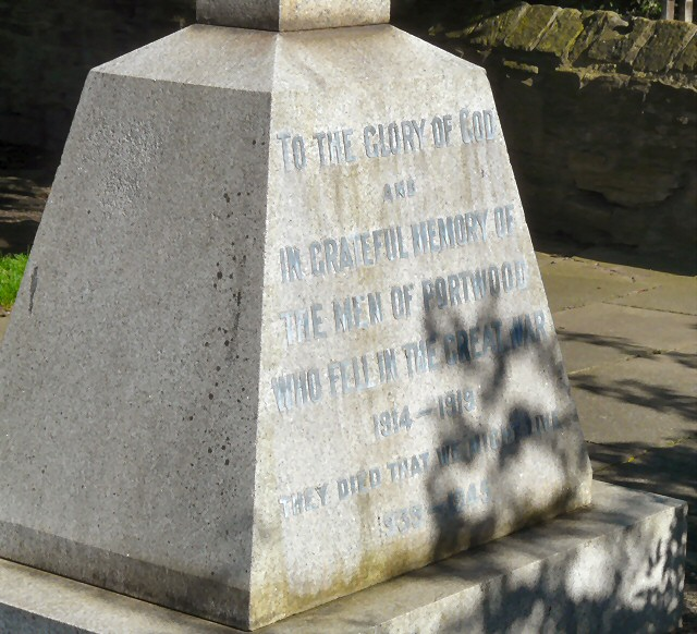 Inscription on Portwood War Memorial