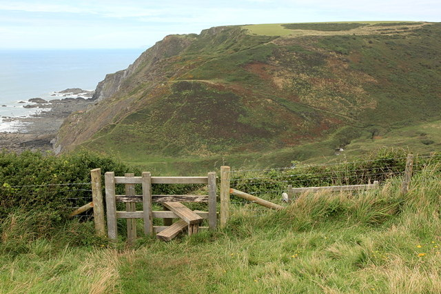 Stile and bench seat above Welcombe Mouth