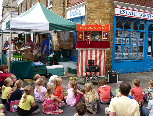 Punch and Judy in full swing at the Faversham Hop Festival