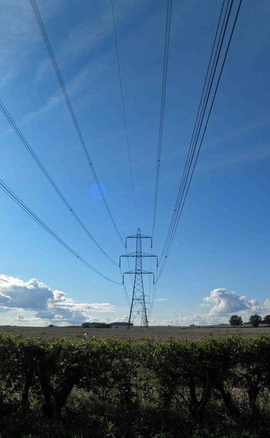 Power lines crossing Burghwallis Lane