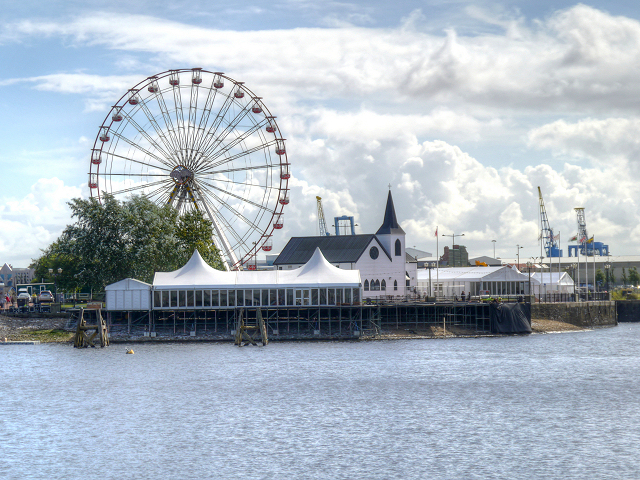Cardiff Bay, Norwegian Church and Ferris Wheel