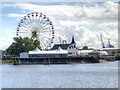 ST1974 : Cardiff Bay, Norwegian Church and Ferris Wheel by David Dixon