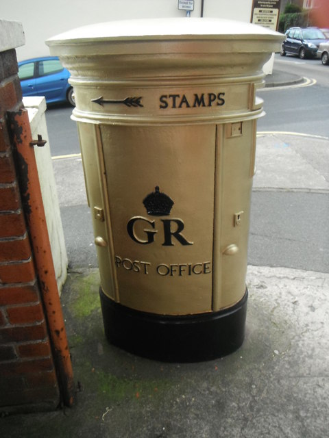 Olympic Gold Post Box - Onchan