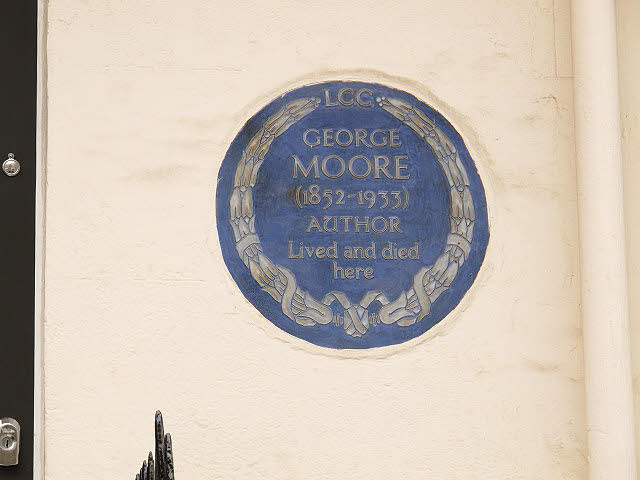 George Moore blue plaque - George Moore (1852-1933) author lived and died here