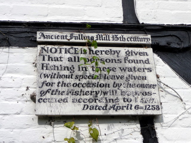 Notice on 13th Century Fulling Mill, Alresford, Hampshire