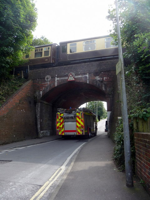 Fire Engine passing under Bridge, Alresford, Hampshire