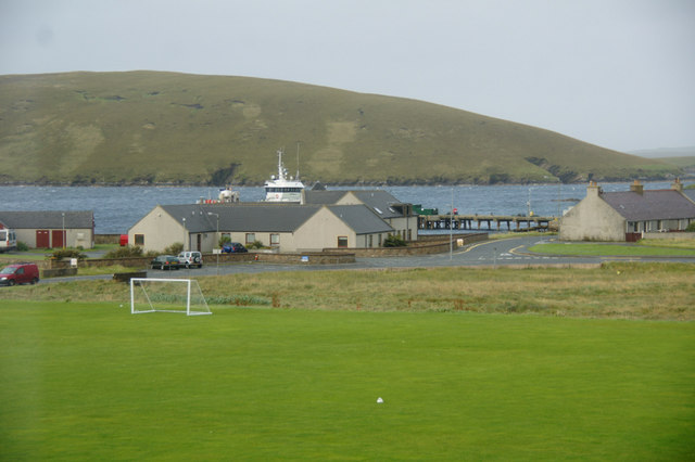 View to Linkshouse Pier from Mid Yell JHS
