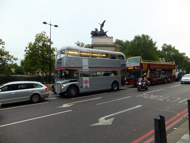 Silver Routemaster Bus at Hyde Park Corner