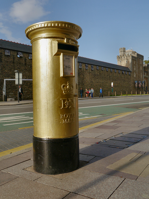 Gold Postbox, Cardiff Castle