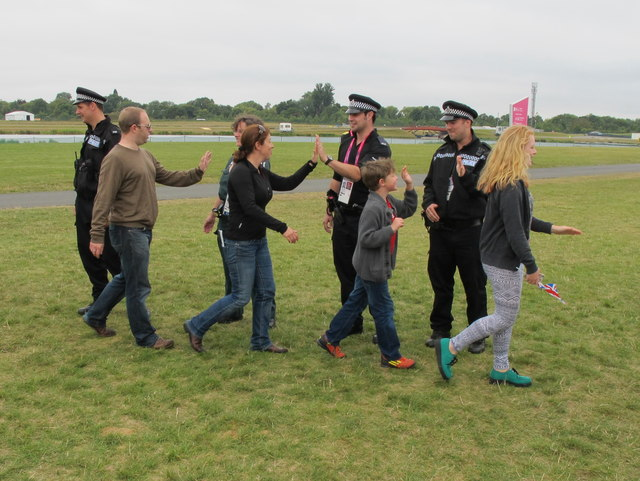 Paralympics rowing, high fives from the police