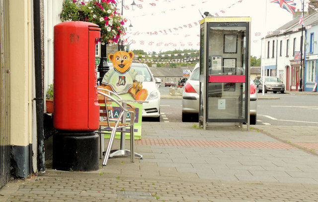 Pillar box and telephone box, Bushmills