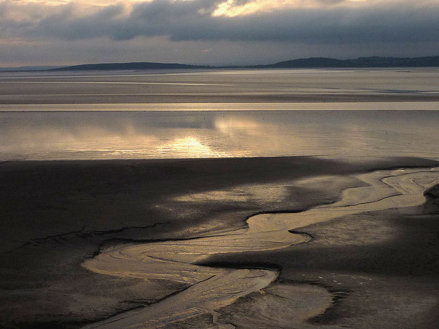 Evening falls over the sands off Silverdale