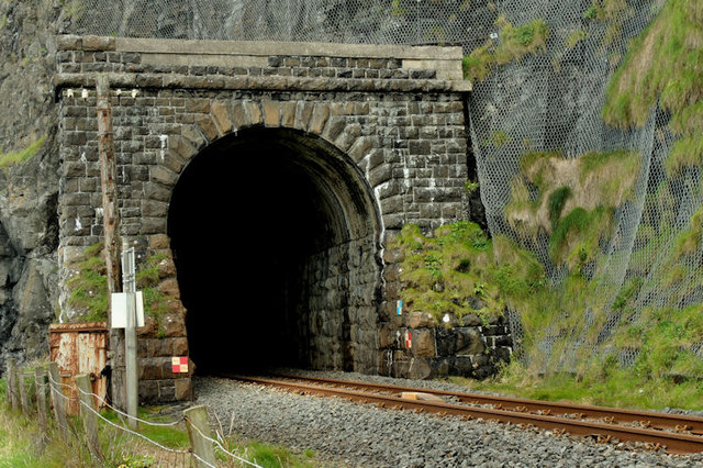Downhill railway tunnel
