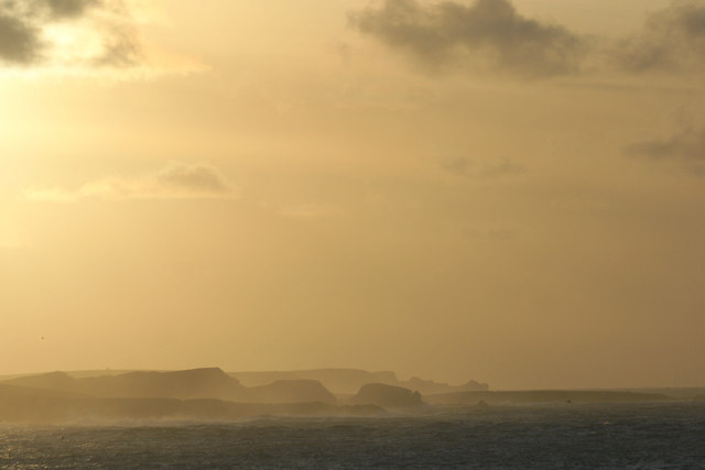North Yell coastline at sunset, from the Westing