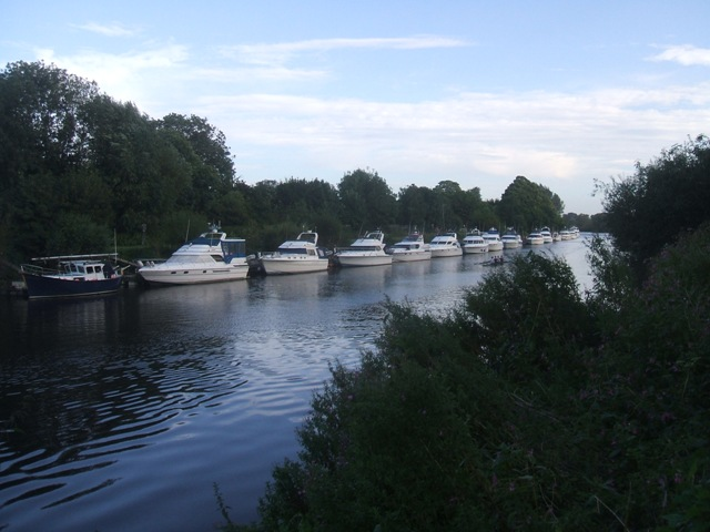 Cruisers moored on the River Ouse