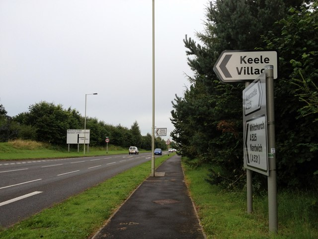 The A525 at Keele