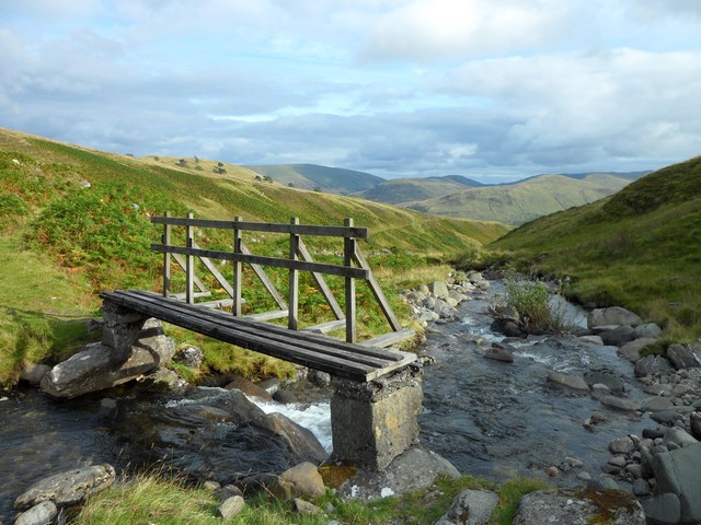 Small bridge crosses the Lawers Burn