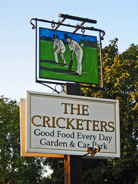 The Cricketers (1) - sign, Downside Common, near Cobham