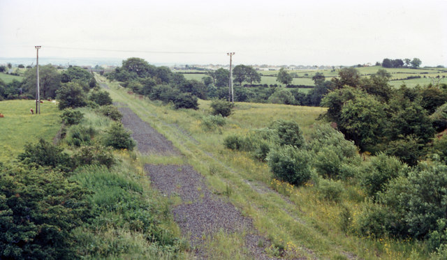 Track-bed of railway at Crosshouse towards Kilmarnock, 1986