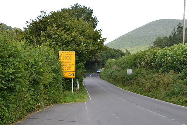 The A458 approaching Mallwyd from the east