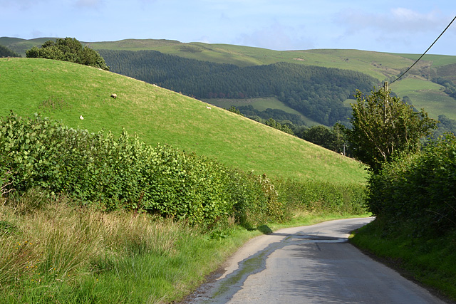 Minor road descending to Pandy Rhiw-Saeson