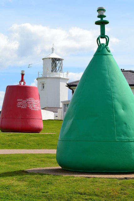 Lizard lighthouse seen between buoys