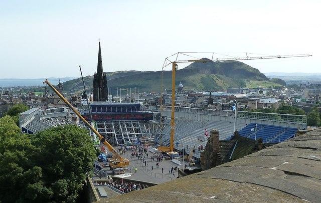 Edinburgh Castle - Temporary grandstand dismantling
