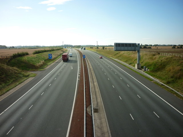 Looking south along the A1M from Grovehall Hall