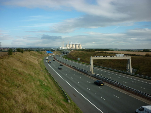 Looking north along the A1M from Grovehall Hall