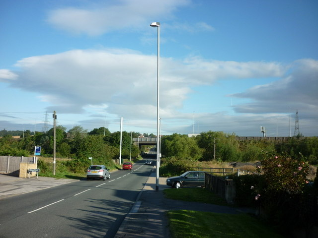 Looking down Spittal Hardwick Lane towards the M62