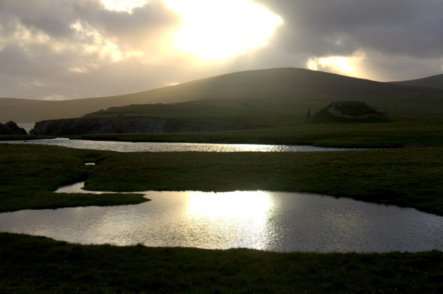 Westering sun over Loch of Lambaness