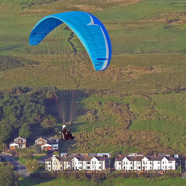 Paraglider over the Rhymney Valley