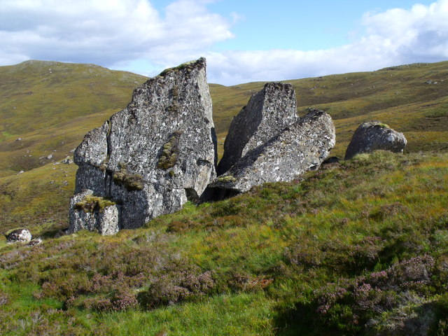 Boulder group in Glas Choire above Glen Cannich, Inverness