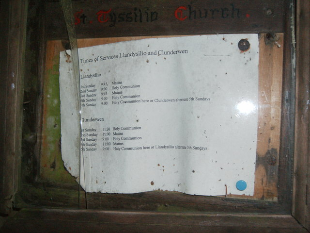 St. Tyssilio's Church notice board