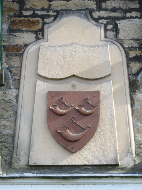 Buglehorns crest on Bellingham Town Hall