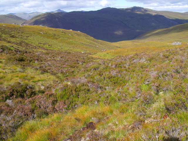 Looking down course of westernmost branch of Allt a' Ghlais Choire above Glen Cannich, Inverness
