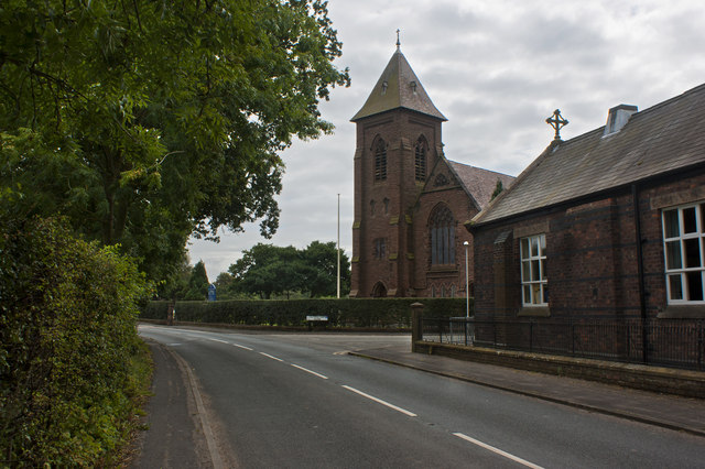 St Elizabeth's RC Church with St Mary's pre-school centre in the foreground
