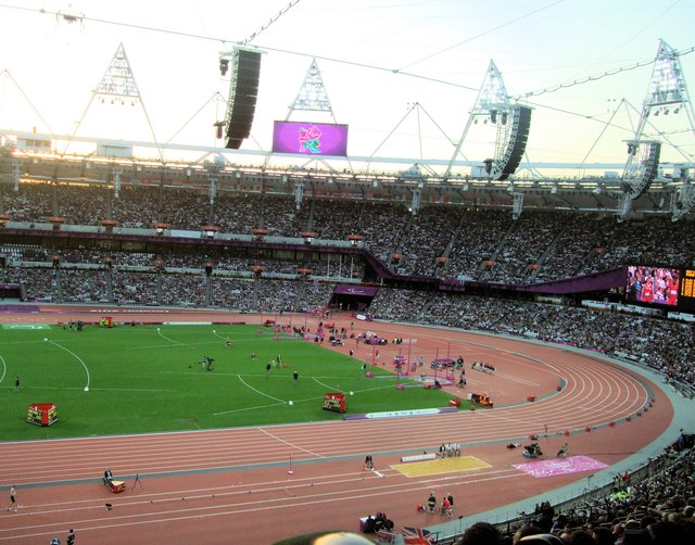 Field events in the Olympic Stadium