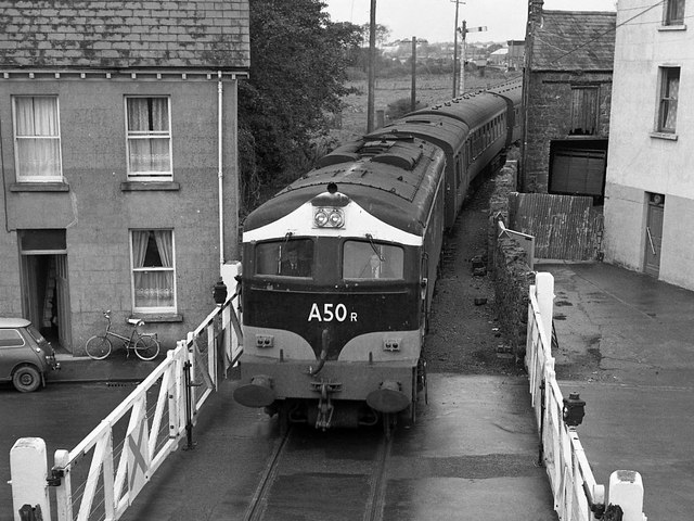 Passenger train leaving Claremorris